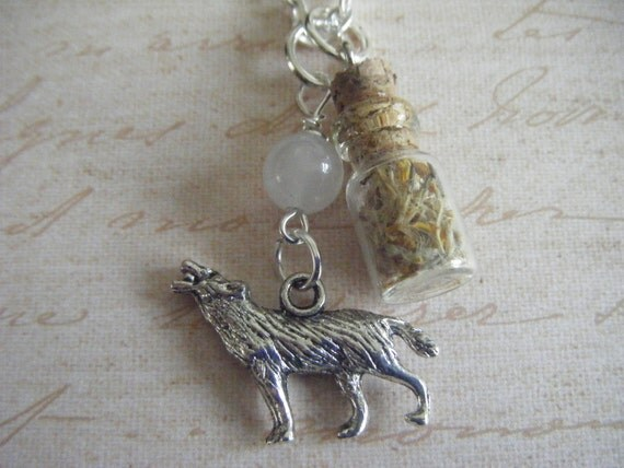 Wolf Werewolf Hybrid Wolfsbane Bottle Necklace Moonstone Bead Howling