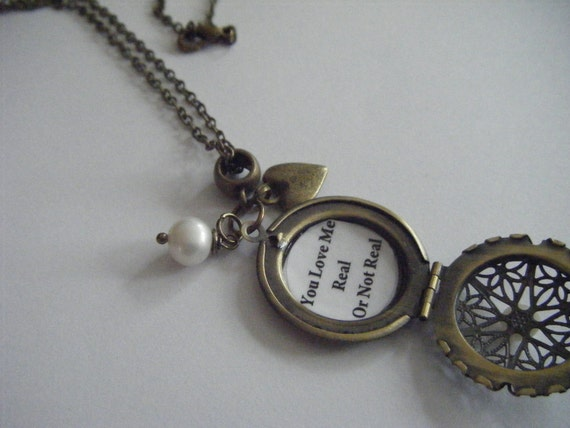 PEETA You Love Me Real Or Not Real Locket Necklace Pearl Hearts