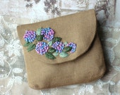 Hand Embroidered Purse // Pink Blue Purple Floral Purse // Hydrangea Flowers Purse // Linen Purse // Spring Purse