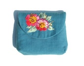 Blue-Green Purse // Embroidered Floral Purse // Pink Floral Purse // Pink Flowers // Hand Embroidered Purse