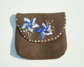 Embroidered Purse Small Bag// Dark Brown Linen Purse // Blue and White Floral Purse