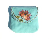 Embroidered Purse -Floral Turquoise Purse-Indian Inspired