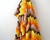 Retro Tribal Sunset-Orange, Brown, Tan, Mustard, Yellow, and Cream Hand Crocheted Vintage 70s Ripple Lap Blanket