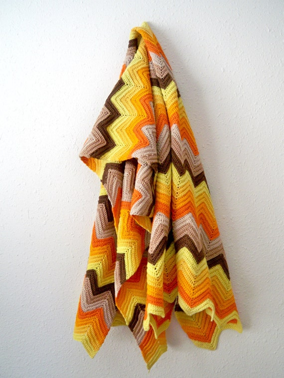 Retro Tribal Sunset-Orange, Brown, Tan, Mustard, Yellow, and Cream Hand Crocheted Vintage 70s Ripple Lap Blanket
