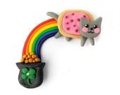 Nyan Cat Rainbow and Pot of Gold - St. Patrick's Magnet - Polymer Clay and Swarovski Rhinestone