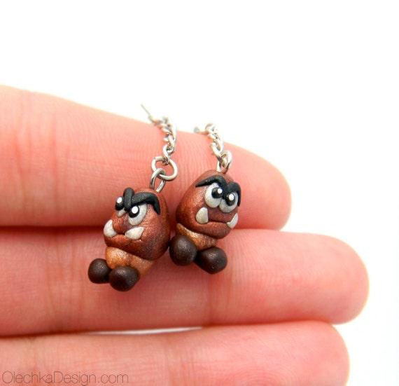 Goomba Earrings SMALLER ver. (Mario Bros.) - Sculpey Polymer Clay