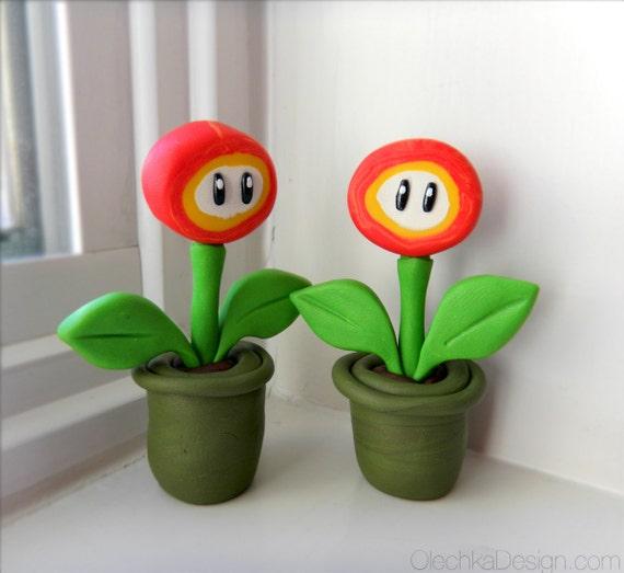 Super Mario Bros Fire Flower Sculpture / Cake Topper - Polymer Clay