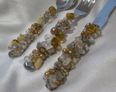 Beaded Appetizer Set in Shades of Tan and Gold SERVING