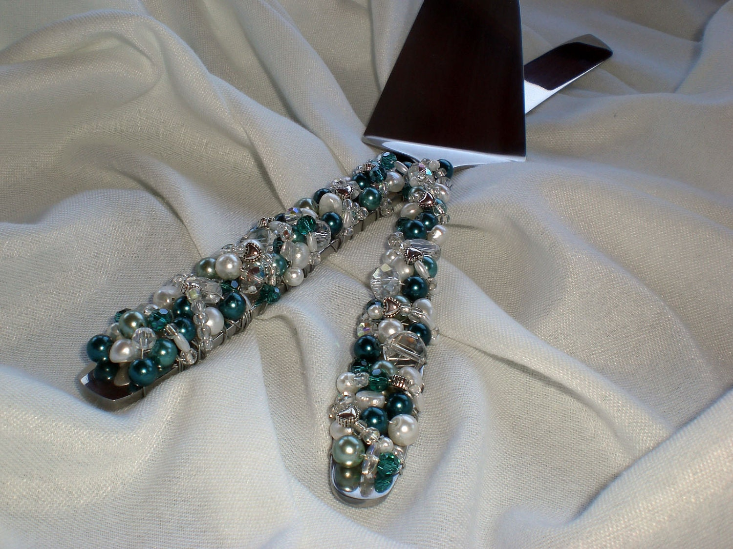 Teal Blue Wedding Cake And Knife Server Set By BlingForTheTable