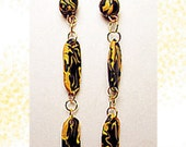 Yellow and Black Dangle Earrings