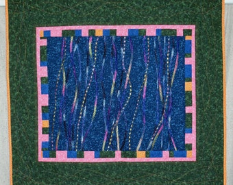 Blue & Green Abstract Wall Hanging / Art Quilt