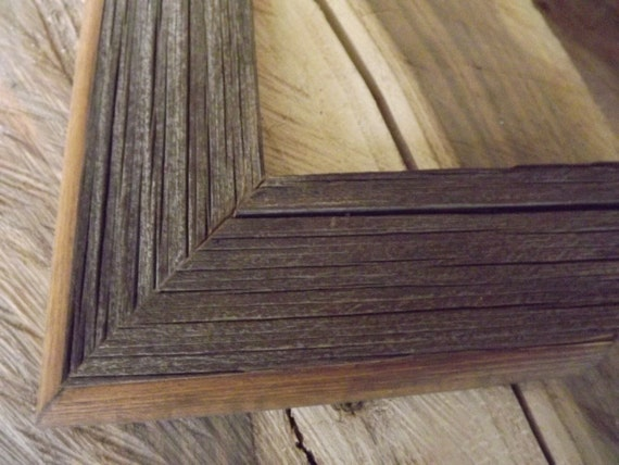 Custom Picture Frame / /  One 8x10 Custom Barnwood Picture Frame Made to Order / Barnwood with Routered Edge Stained Early American Brown