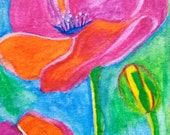SALE---ACEO ORIGINAL watercolor pencil painting, Poppies in Pink, Orange, Green and Blue was 12 dollars now only 7.99