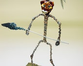 Hunted becomes the hunter - OOAK wirework and glass sculpture