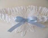 Reserved Listing - White wedding garter with Something Blue bow, vintage blue rhinestone, venice lace, bridal garter, prom, lingerie
