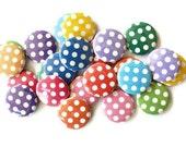 Polka Dot Buttons - Polka Dot Cabochons - Set of 24 Flatback Buttons
