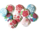 Flower Buttons - Set of 10 Pinback Buttons - Flower Pins in Pink & Aqua