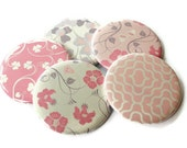 Pocket Mirrors -Set of 5 Mirrors or Wedding Favors - Pink and Gray Flowers