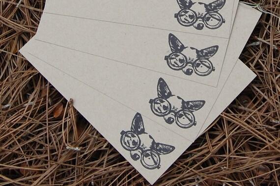 Hipster Chihuahua Dog Flat Letterpress Flat Cards (Set of 8)