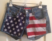 Medium Rise Jean Shorts with an American Flag