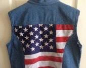 Denim Vest with American Flag and Silver Studs