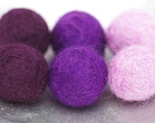 6 hand felted Merino wool beads in graduating shades of lilac, purple and plum - handmade beads from the Bellwether Beadery