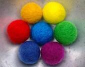 Set of 7 large needle felt beads in bright rainbow colours - yellow orange red green blue violet indigo - handmade felt bead set
