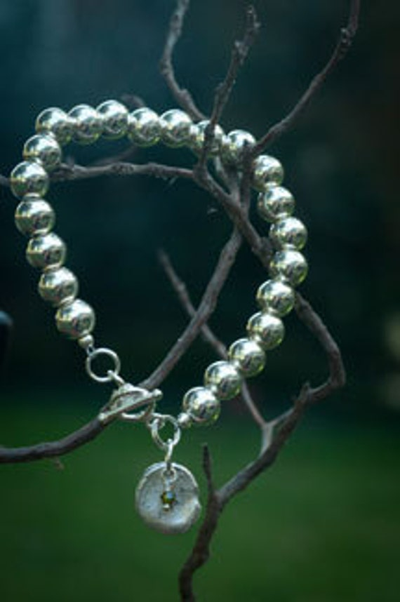 "Alexandria 7.5"" Sterling Silver Ball Bracelet with Fingerprint Charms"
