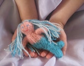 Fairy, Mermaid or Gnome felted wool stuffed toys, hand knitted