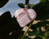 Pink wire wrapped Dichroic heart pendant