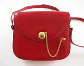 FINAL SALE Vintage Gucci Red Cherry Leather Crossbody Purse - Treasury Favourite