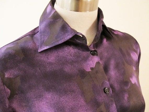 Armani Purple Silk Print Floral Blouse