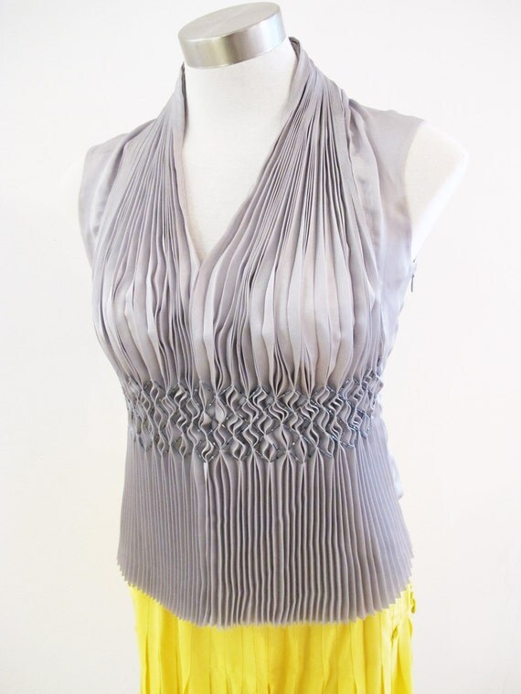 Issey Miyake Fete beaded and pleated summer top