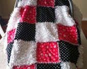 Pink/ White/ Black Rag Quilt Carseat Cover