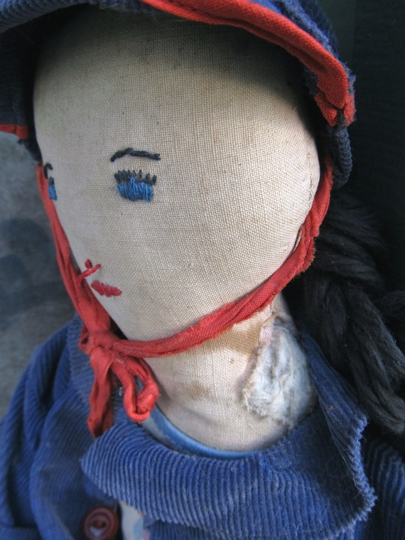 Primitive Americana Rag Doll Hand Sewn Features Vintage Clothes / Farmhouse Prim / epsteam