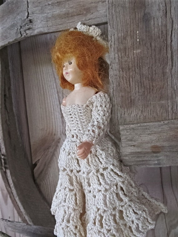 Vintage Cottage Shabby Chic Celluloid Plastic Wedding Bride Doll White Crochet Handmade Dress / Painted Shoes / Bloomers / espteam