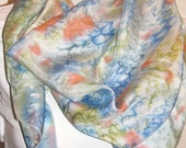 Hand painted silk scarf. Abstract shapes in Blue, Green and Orange. 69 X 16 in.