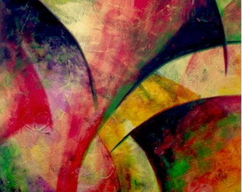 Original Abstract Painting, Acrylic, Dance of the Seven Veils