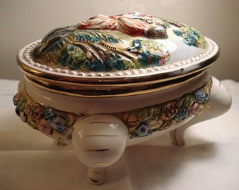 Vintage Capodimonte Oval Lidded Trinket Dish with Courting Scene