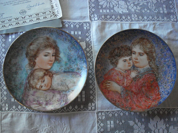 Pair of Edna Hibel Plates, Mother and Child