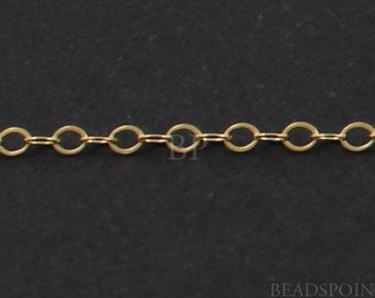 14k Gold Filled Cable Chain, Lightweight Tiny Flat Delicate Oval Links, Bright Polished 1.5 x 1 mm, (GF-916F)(113)
