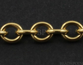 14k Gold Filled Oval Cable Chain, Very Heavy Weight Thick Links, Bright Polished 4 x 3 mm, GF-W2910 (101)