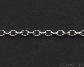 Sterling Silver Flat Cable Chain,  PetiteDelicate 1.5 x 1 mm Oval Links, Bright Polished Finish, SS-1025(82)