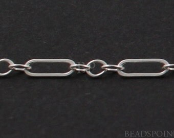 Sterling Silver Long and Short 3 Plus 1 Fancy Cable Chain  4.5 x 1.5 mm elongated flat oval  3 small ovals, SS-131-3F(70)