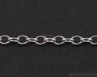 Sterling Silver Oval Cable Chain, Light Weight PetiteOval 2 x 1.25 mm Links, Bright Polished Finish Delicate Chain, SS-1218 (45)