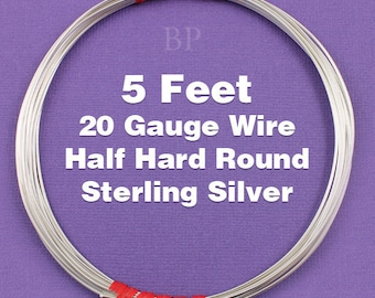 Sterling Silver  .925 20 Gauge Half Hard Round Wire on Coil,  Wrapping Wire (5 FEET)