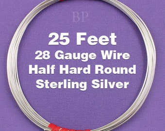 Sterling Silver  .925 28 Gauge Half Hard Round Wire on Coil,  Wrapping Wire (25 FEET)