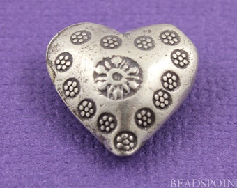 Fine Silver (.999) Thai Hill Tribe Handmade Puffed Heart Bead w/ Stamped Beaded Flower Pattern both sides, Lightly Oxidized