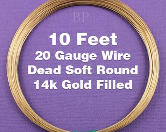 14k Gold Filled, 20 Gauge Dead Soft Round Wire Coil,  Wrapping Wire (10 FEET)