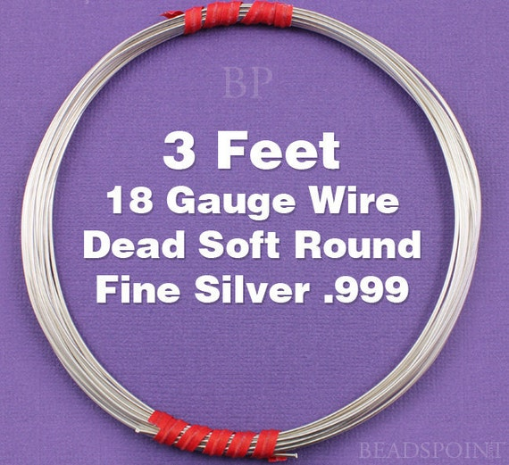 Fine Silver .999 18 Gauge Dead Soft Round Wire on Coil, Pure Silver  Wrapping Wire (3 FEET)